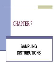 QMT 261 - CHAPTER 7 - SAMPLING DISTRIBUTIONS