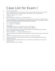 Case List for Exam I