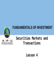 Chapter 4 Securities Markets and Transactions