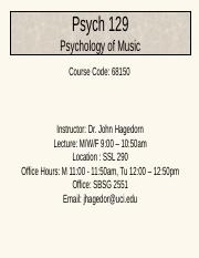 Psych129Intro_Chapter01 - Psych 129 Psychology of Music