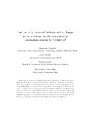 Productivity, External Balance and the Exchange Rates