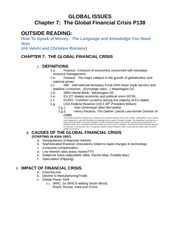 Chapters 7, 8-The Global Financial Crisis & Global Trade