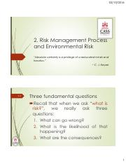 Topic 2 - Risk Management Process and Environmental Risk