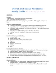 Moral and Social Problems study guide test 2
