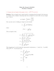 Exam 2 Solution on Calculus II Fall 2011