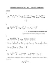 Detailed Solutions to Calc 1 Practice Problems