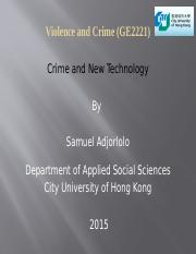 CRIME AND NEW TECHNOLOGY