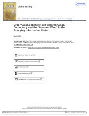 Cybernations Identity Self determination Democracy and the Internet Effect in the Emerging Informati