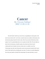Cancer -- current events