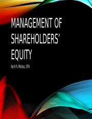 Management of shareholders' equity