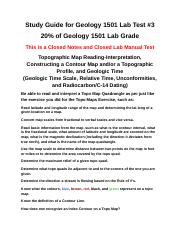 Study Guide for Geology 1501 Lab Test #3 - Spring 2018.doc