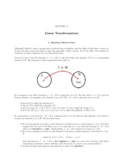 Lecture 11 Linear Transformations