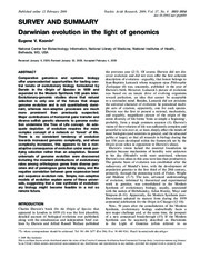 Article - Darwinian evolution in the light of genomics