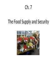 Chapter 7 Food Supply and Security