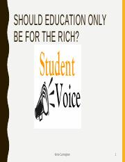 Should Education Only Be For The Rich