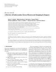 A Review of Indocyanine Green Fluorescent Imaging in Surgery