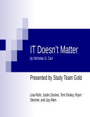 IT doesn't matter slide set
