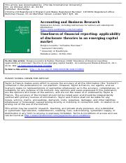 Timeliness of financial reporting applicability of disclosure theories in an emerging capital market