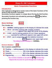 sharpel546Rbasics pdf - Sharp EL-546 Calculator Basic