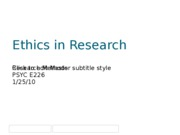 Ethics in Research 1.25