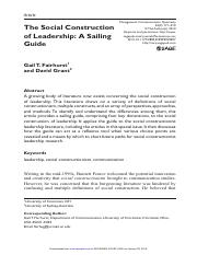 Fairhurst, Grant - 2010 - The Social Construction of Leadership A Sailing Guide.pdf