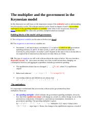 The multiplier and the government in the Keynesian model.docx