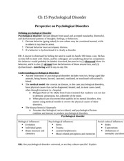 Ch 15 Psychological Disorder