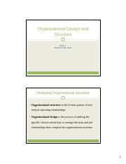 Chapter 16 - Organizational Design and Structure