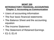 Mgmt 200 Spring 2010 Chap 1 Financial Statements