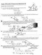 Angle Of Elevation 3 Doc Angle Of Elevation Depression Worksheet