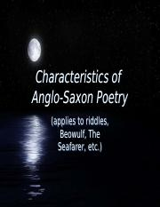 a true hero in the character of beowulf of the anglo saxon poetry Essay on beowulf is a true  in epic poetry the central character has heroic or  the most heroic man of the anglo-saxon times beowulf is the hero.