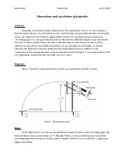 Physics lab 3 projectile motion .docx