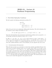 IEOR 151 - Lecture 10, Nonlinear Programming - Fall 2014