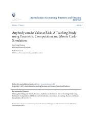 03_Anybody can do Value at Risk_ A Teaching Study using Parametric