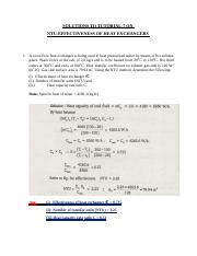 SOLUTIONS TO TUTORIAL 7 ON NTU-EFFECTIVENESS OF HEAT EXCHANGERS