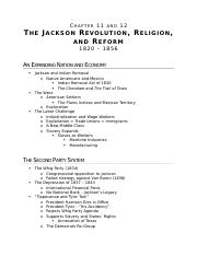 (Ch 11/12) The Jackson Revolution, Religion, and Reform