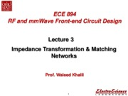 Lect3_Impedance Transformation & Matching Networks