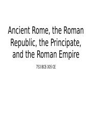 Ancient to Imperial Rome Amended Lecture Notes V. 1