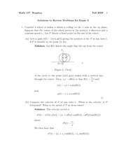 Exam 3 Review Problem Set Solution Fall 2009 on Vector Calculus