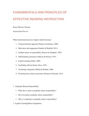 FUNDAMENTALS AND PRINCIPLES OF EFFECTIVE READING INSTRUCTION
