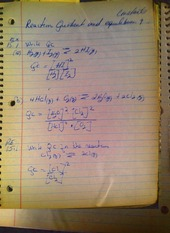 CHE 109 Notes on Reaction Quotient and Equilibrium
