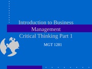 Mgmt 1281 Critical Thinking Part 1