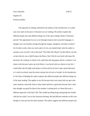 english 101 intro to the ways of reading essay qu