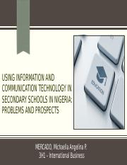 Using Information and Communication Technology in Secondary Schools