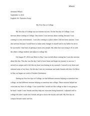 english english williamsburg technical college  2 pages my first day at college narrative essay