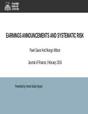 EARNINGS ANNOUNCEMENTS AND SYSTEMATIC RISK.pptx