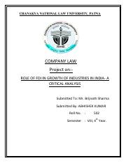 ROLE OF FDI IN GROWTH OF INDUSTRIES IN INDIA
