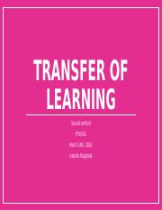 Individual Transfer of learning