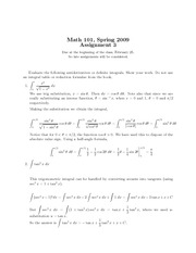 MATH 101 2009 Assignment 3 Solutions