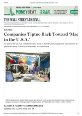 Companies Tiptoe Back Toward 'Made in the U.S.A.' - WSJ 1-13-2015